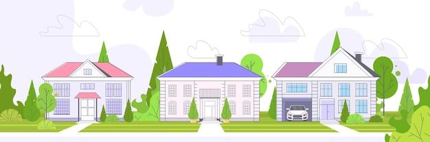 Пусто улица городские дома коттеджи загородная недвижимость концепция частная жилая архитектура дома экстерьер горизонтальный