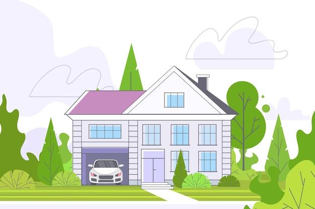 Пустая улица без людей с таунхаусом коттедж концепция загородной недвижимости частная жилая архитектура экстерьер дома горизонтальный