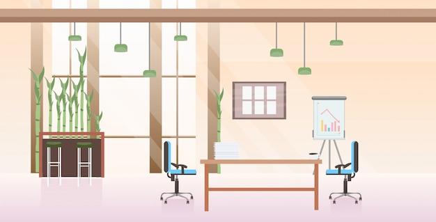 Пусто нет люди совместный рабочий центр кабинет современный рабочее место стол творческий офис интерьер горизонтальный