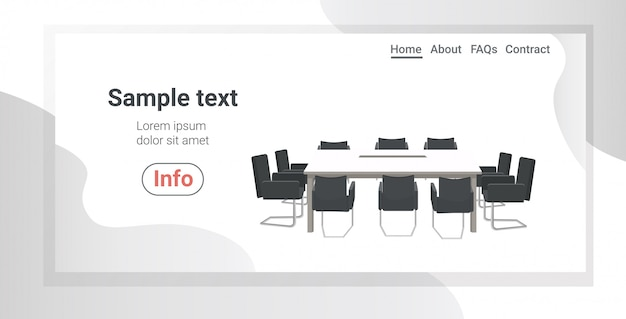 Empty no people coworking center meeting room with round table surrounded by chairs modern office horizontal copy space