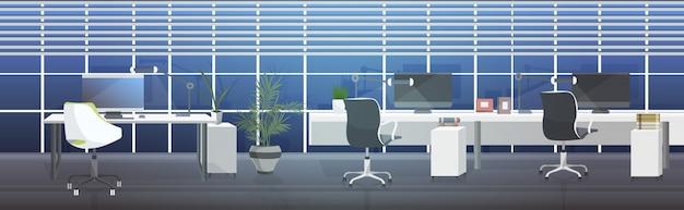 Пусто люди нет коворкинг центр современные рабочие места открытое пространство офис интерьер горизонтальный
