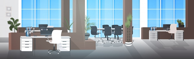 Empty no people coworking center with meeting room modern open space office interior horizontal