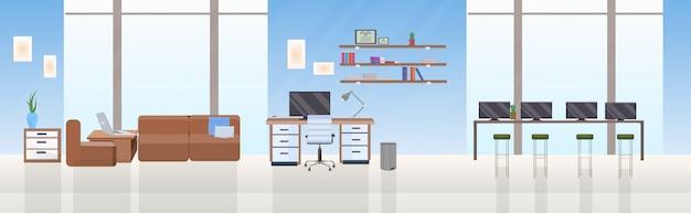 空の人々ない創造的なコワーキングセンターオープンスペース現代的なワークスペースエリア家具付きのモダンなオフィスインテリアフラット水平