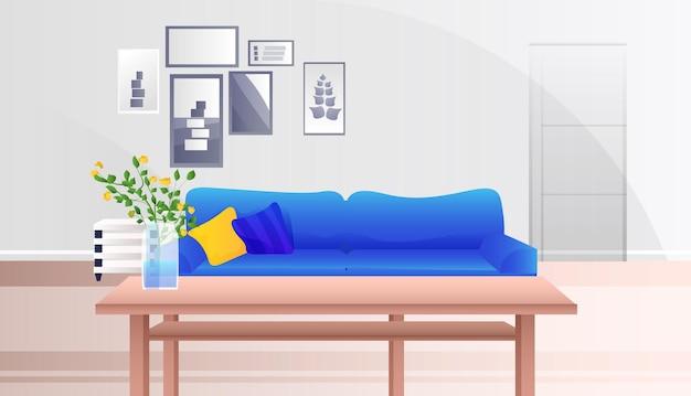 空の人の居間インテリアモダンなアパートのデザイン、水平方向のイラスト