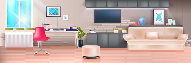 Empty no people living room interior modern home apartment with furniture horizontal vector illustration