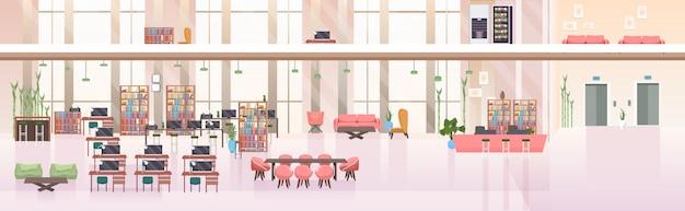 Пусто нет людей открытое пространство творческий центр совместной работы современный рабочее место офис интерьер горизонтальный баннер