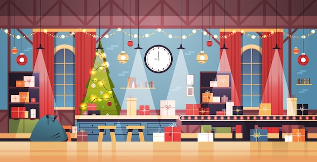 空の人はいないサンタクロースクリスマス工場機械ラインの贈り物で幸せな新年冬の休日のお祝いの概念水平ベクトル図