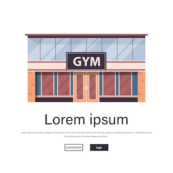 Empty no people sport gym exterior fitness training healthy lifestyle concept sport studio building facade isolated copy space