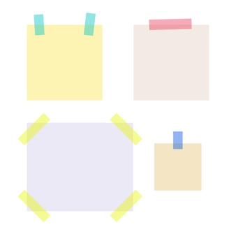 空のメモ用紙に色付きの粘着テープが貼られています。学校や事務用品のコレクション。白い背景で隔離のフラットベクトルイラスト