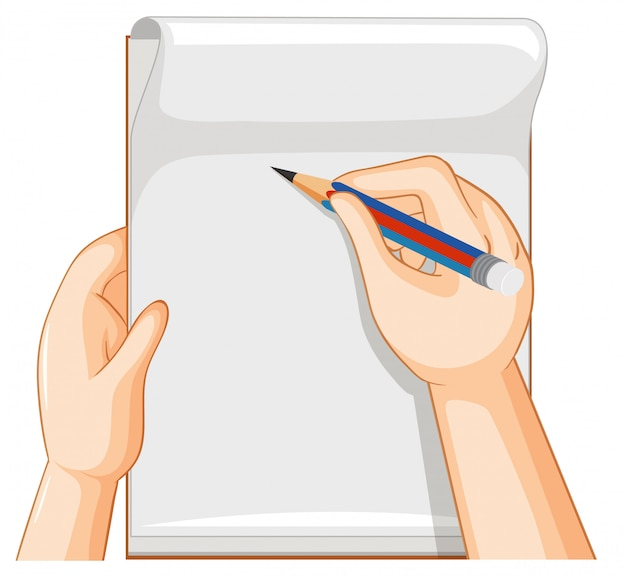 Empty notebook and hand with pencil on white background