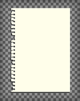 Empty notebook page with torn edge