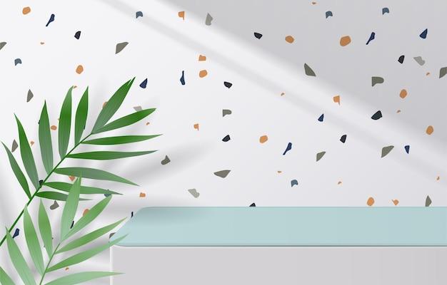 녹색 잎과 그림자가 있는 테라조 질감 배경에 흰색 및 녹색 테이블 상단이 비어 있습니다. 몽타주 제품 디스플레이 또는 디자인 배너 조롱. 3차원 벡터