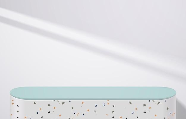 그림자가 있는 흰색 배경에 흰색 테라조와 녹색 테이블이 비어 있습니다. 몽타주 제품 디스플레이 또는 디자인 배너 조롱. 3차원 벡터