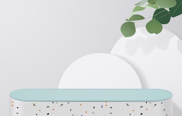 녹색 잎이 있는 흰색 배경에 흰색 테라조와 녹색 테이블이 비어 있습니다. 몽타주 제품 디스플레이 또는 디자인 배너 조롱. 3차원 벡터