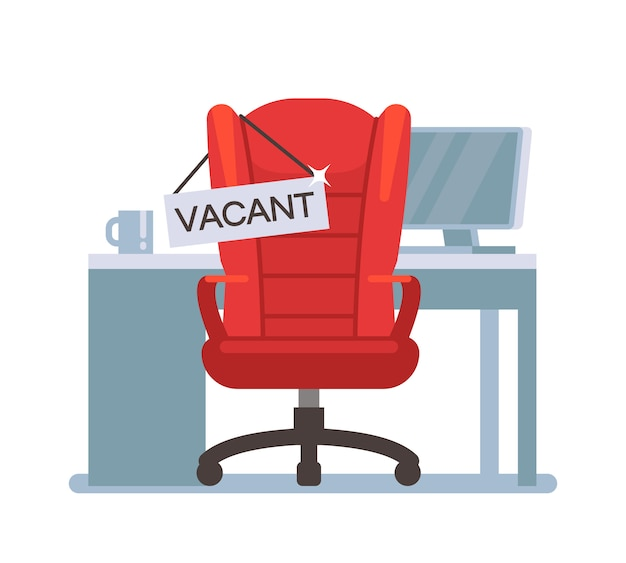 Empty office chair with vacant sign. employment, vacancy and hiring job vector concept. chair vacant work, search employee illustration
