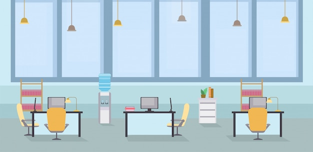 Empty office interior cartoon vector illustration. coworking open space, tables with chairs in workplace