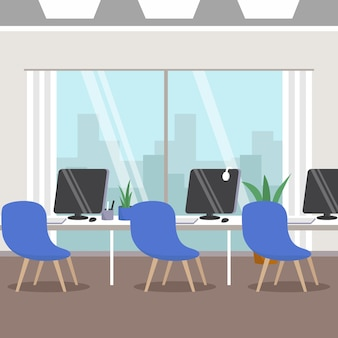 Empty office pandemic concept