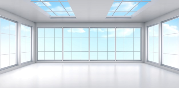 Пустой интерьер комнаты офиса с окнами на потолке