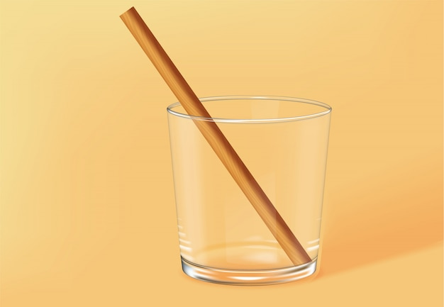 Empty old fashioned glass with bamboo straw inside