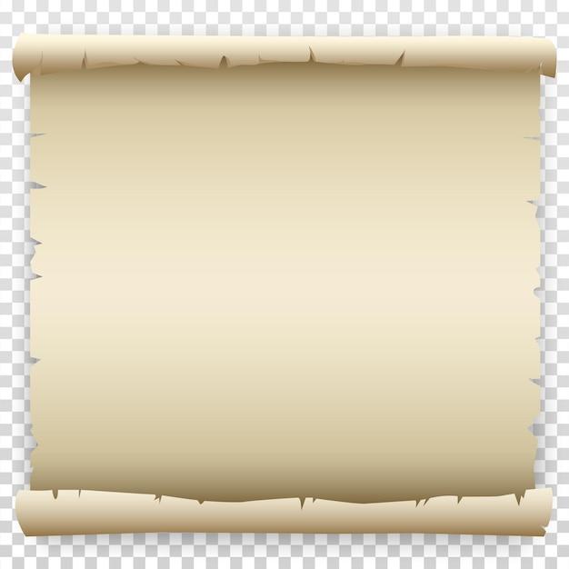 Пустой старый свиток бумаги с рваными, скомканные края. шаблон рисования мультфильма для письма или текста