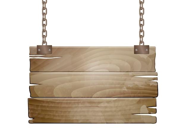 Пустой старый знак деревянной доски висит на цепи изолированной на белизне. векторная иллюстрация