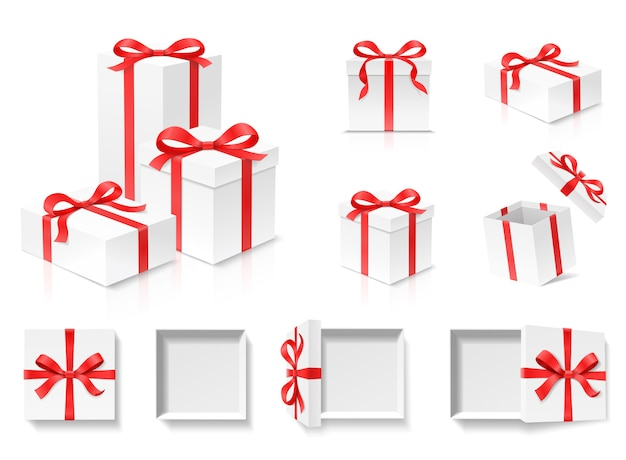 Empty open gift box set with red color bow knot and ribbon  on white background. happy birthday, christmas, new year, wedding or valentine day package concept. closeup   illustration