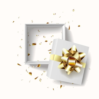 빈 오픈 선물 상자 템플릿입니다. 현실적인 장식용 개체를 디자인합니다.