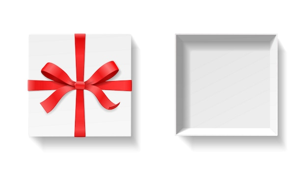赤い色の弓の結び目、白い背景の上のリボンと空のオープンギフトボックス。お誕生日おめでとう、クリスマス、新年、結婚式やバレンタインのパッケージコンセプト。クローズアップイラストトップビュー