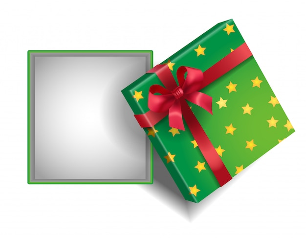 Empty open green gift box with stars and red ribbon.