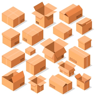 Empty opened cardboard boxes vector set