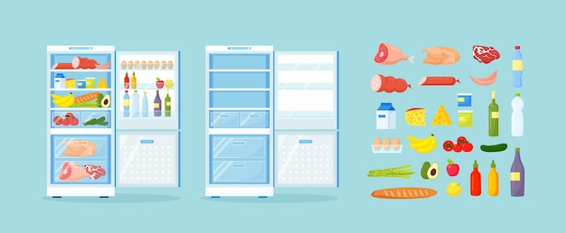 Empty and opened refrigerator with different healthy food. fridge on kitchen, freezer with meat on shelves