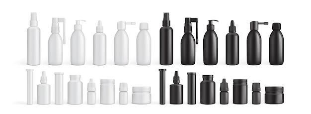 Пустые упаковочные бутылки с лекарствами, изолированные на белом