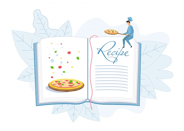 Empty pages of pizza recipe cook book illustration