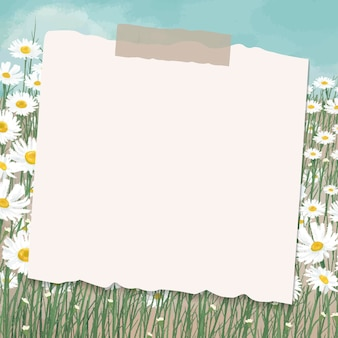 Empty paper on daisy field patterned background vector