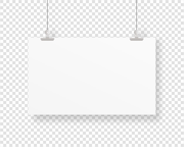 Empty paper frame  hanging with paper clip. blank poster template.   . template . realistic  illustration.