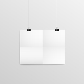 Empty paper panel with traces of folding hanging on wall with clips, 3d realistic vector illustration isolated on gray wall