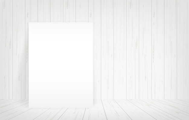 Empty paper poster in room space background.