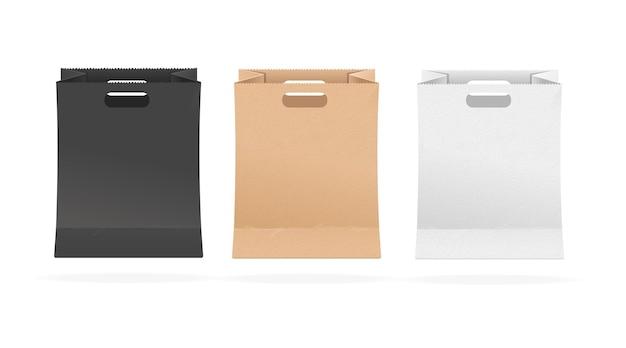 空の紙の買い物袋セット。異なる色。