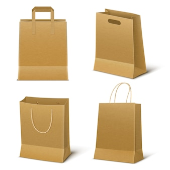 Empty paper shopping bags set