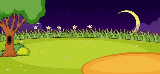シンプルなスタイルで夜の空の公園の自然シーン