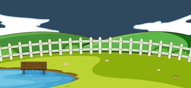 심플한 스타일로 밤에 빈 공원 자연 장면