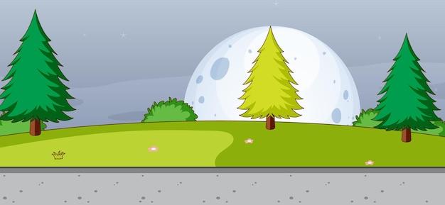 シンプルなスタイルの月と夜の空の公園の自然シーン