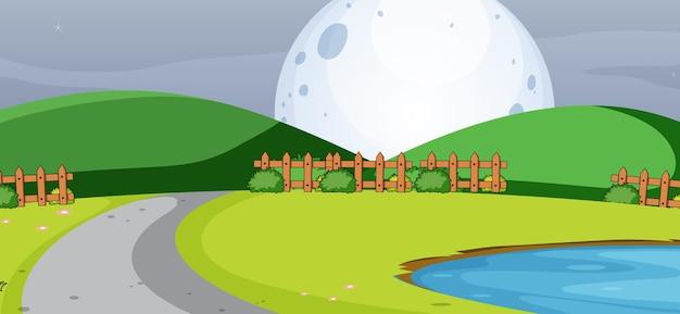 シンプルなスタイルの大きな月と夜の空の公園のシーン