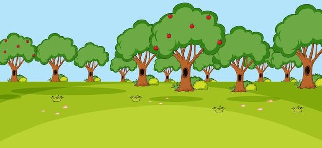 シンプルなスタイルでたくさんの木がある空の公園のシーン