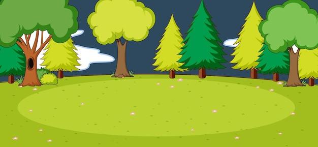 Scena del parco vuoto con molti alberi di notte in uno stile semplice