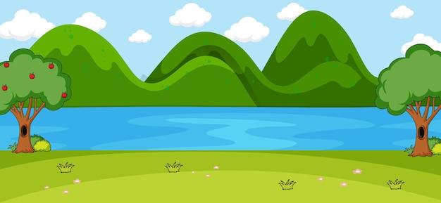 Пустая сцена в парке с рекой и горой в строгом стиле