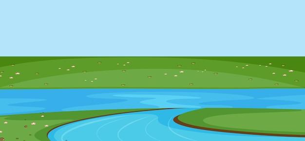 Пустая сцена в парке с рекой в строгом стиле