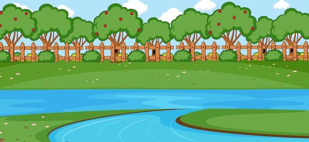 シンプルなスタイルの川と空の公園のシーン
