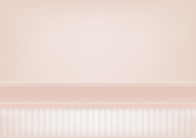 Empty pastel pink shelf, mock up for display of product.