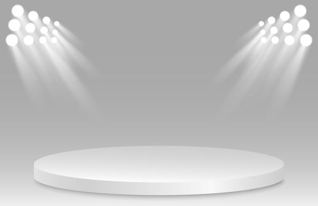 Пустой постамент с прожектором. призовое место. изолированный 3d опорожняет белый подиум на серой предпосылке.